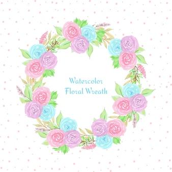 Carte florale avec une couronne de fleurs