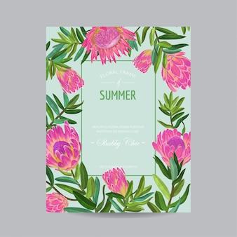 Carte florale d'été avec des fleurs