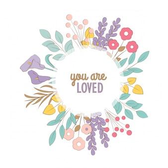 Carte florale de griffonnages. tu es aimé!