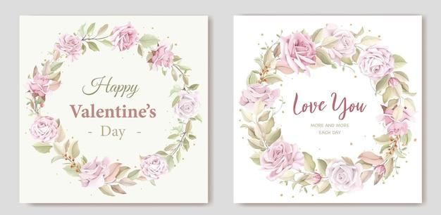 Carte florale de guirlande de voeux saint valentin