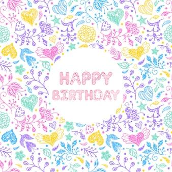 Carte florale joyeux anniversaire
