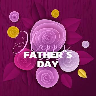 Carte florale en papier découpé fête des pères