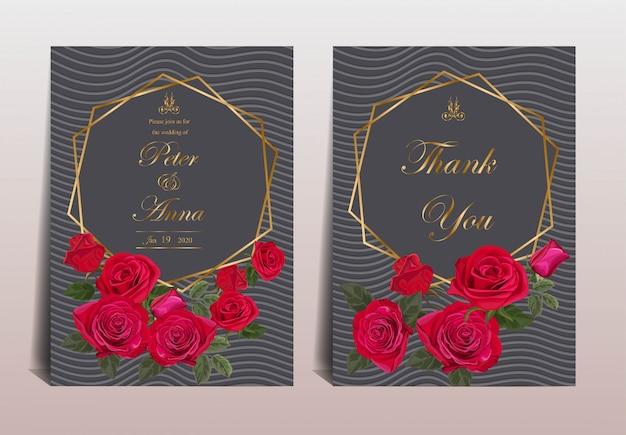 Carte florale pour mariage et cartes de vœux