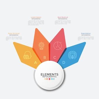 Carte florale avec quatre pétales translucides colorés. modèle de conception infographique propre. concept de 4 options d'affaires au choix. illustration vectorielle moderne pour présentation, bannière, brochure.