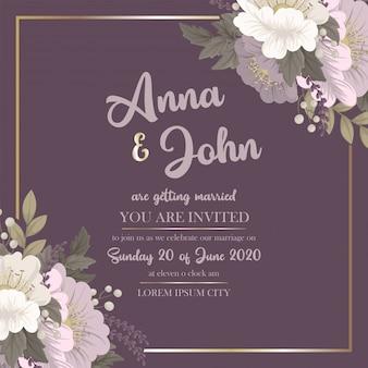 Carte florale rose modèle de mariage floral