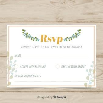 Carte florale de rsvp de mariage