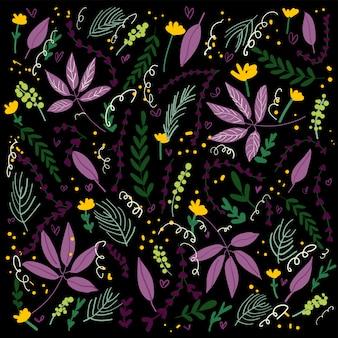 Carte florale style art populaire