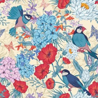 Carte florale vintage avec des roses et des fleurs sauvages