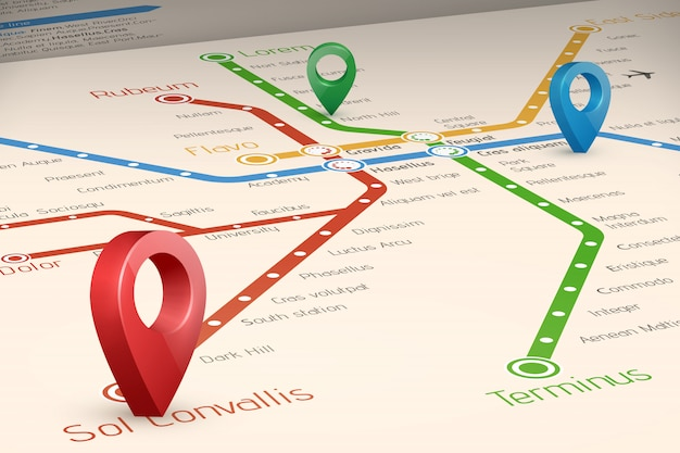 Carte floue des itinéraires de métro et des pointeurs