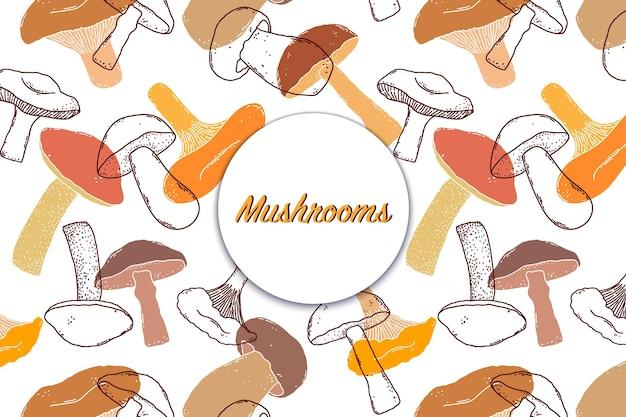 Carte, flyer aux champignons dans un style dessiné à la main sur fond blanc