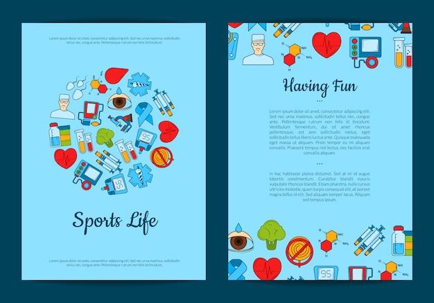 Carte ou flyer d'icônes de diabète