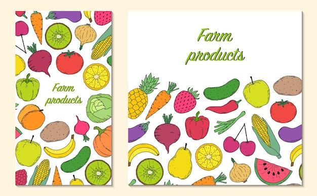Carte, flyer avec légumes et fruits dans un style dessiné à la main.