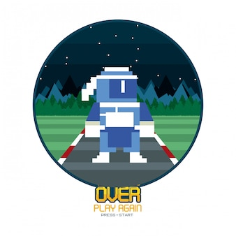 Carte de fond d'arcade écran rétro jeu vidéo rond cadre