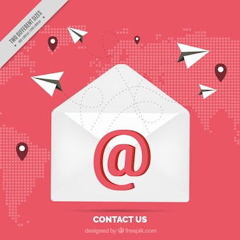 Carte de fond avec des e-mails et des avions en papier