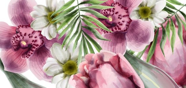 Carte de fond de fleurs d'orchidées