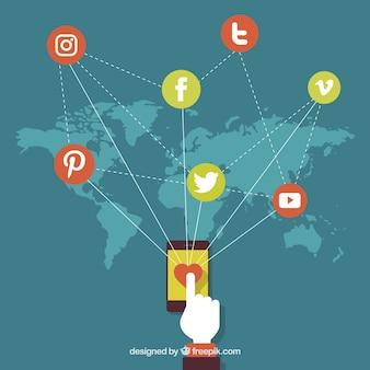 Carte de fond avec des symboles des réseaux sociaux