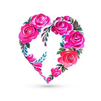 Carte de forme de coeur fleur décoratif coloré saint valentin