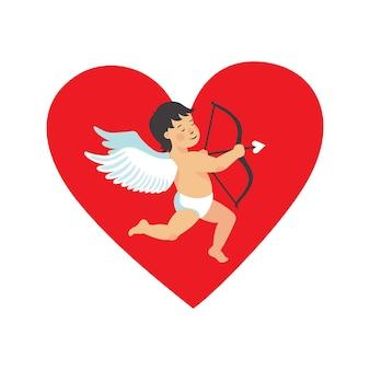 Carte de forme de coeur de jour de valentin avec illustration de cupidon mignon