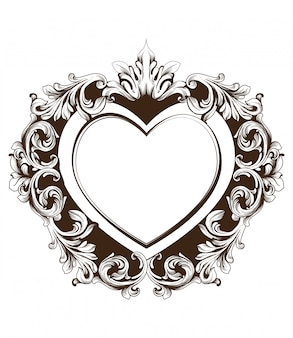 Carte de forme de coeur vintage cadre baroque