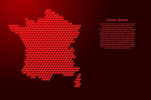 Carte de france du concept abstrait isométrique de cubes rouges 3d