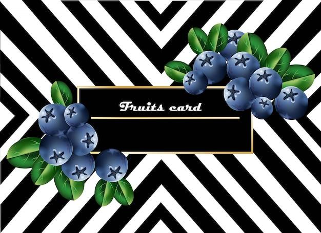 Carte de fruits bleuets juteux abstrait rayé