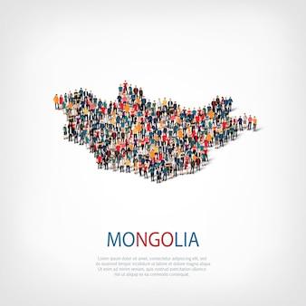 Carte des gens du pays mongolie