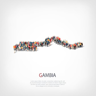 Carte des gens pays gambie
