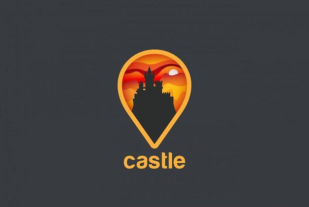 Carte geo locator castle logo icône vecteur