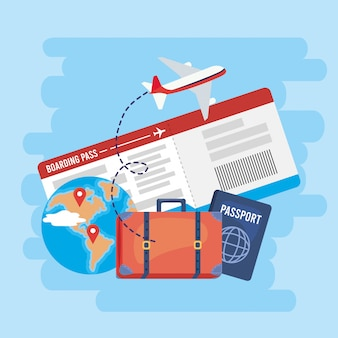 Carte globale avec billets et passeport avec avion
