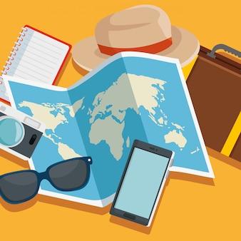 Carte globale avec chapeau et voyage bagages
