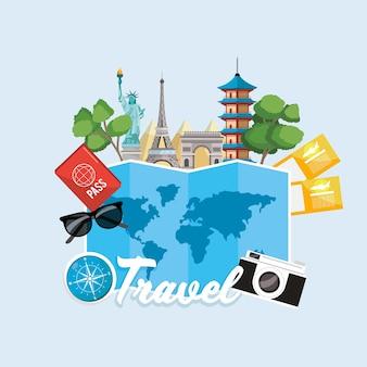Carte globale et destination de tournée internationale
