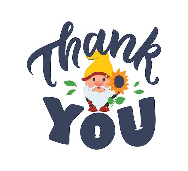 La carte avec gnome et citation de lettrage merci le dessin animé et la phrase pour le jour de thanksgiving