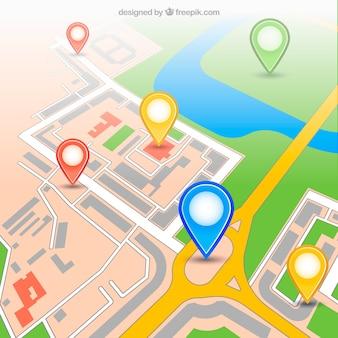 Carte gps urbaine avec des épingles