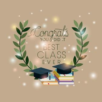 Carte de graduation avec chapeau et livres de pile