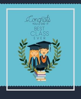 Carte de graduation avec couple de diplômés
