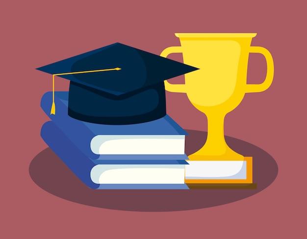 Carte de graduation avec livres et chapeau