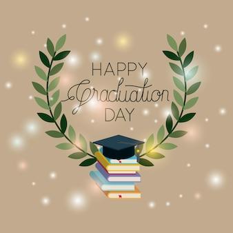 Carte de graduation avec des livres et un chapeau