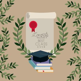 Carte de graduation avec livres et diplôme