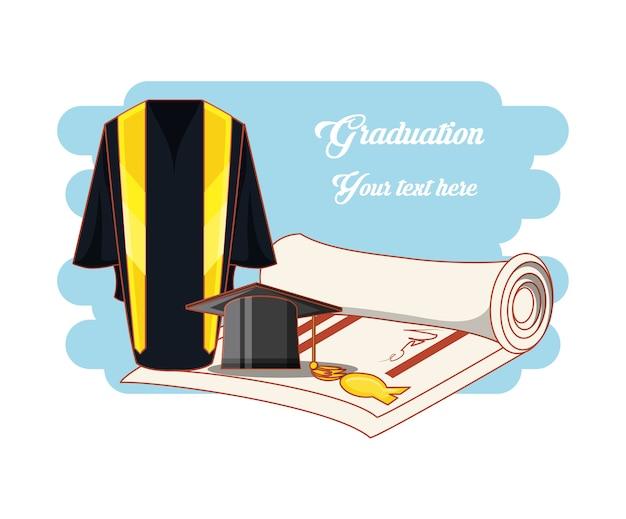 Carte de graduation avec uniforme de costume