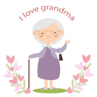 Carte de grand-mère heureuse ornée d'une fleur rose