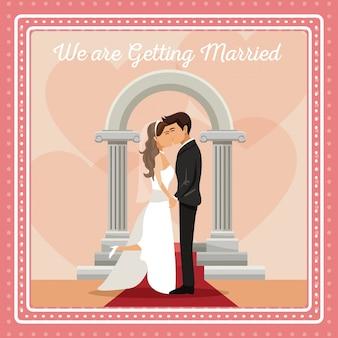 Carte de gretting coloré avec couple marié et mariée embrassant