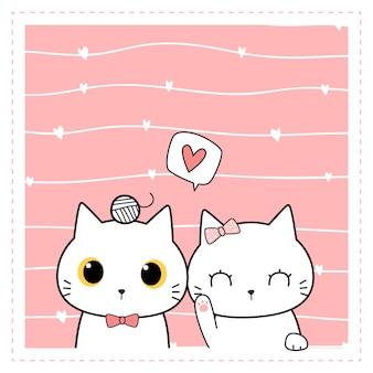Carte de griffonnage de dessin animé de couple de chat mignon