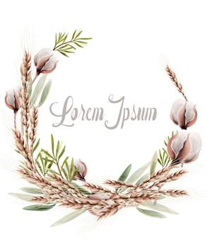 Carte de guirlande d'épis de blé. affiche automne rustique vintage. boho décorations d'automne