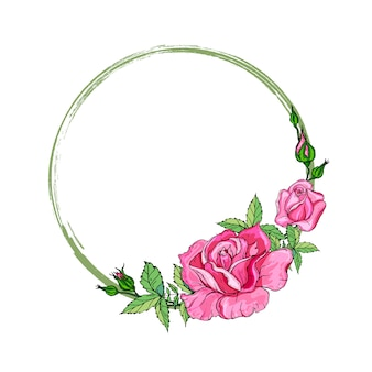 Carte avec une guirlande de fleurs roses