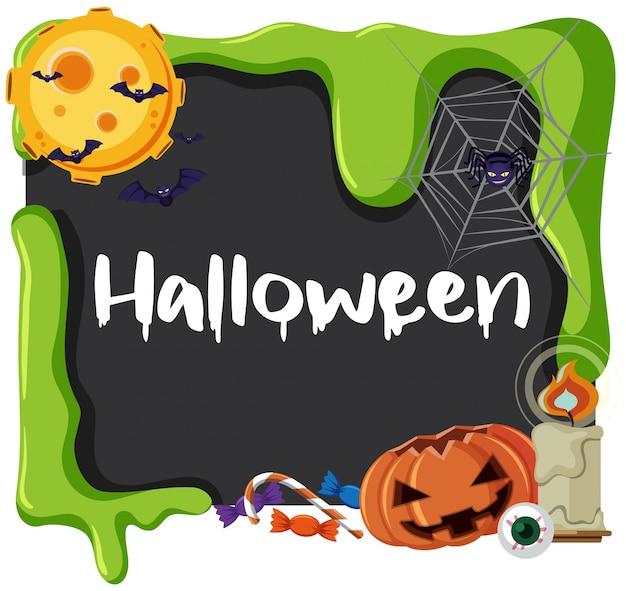 Carte d'halloween avec araignée et jack-o-lanterne