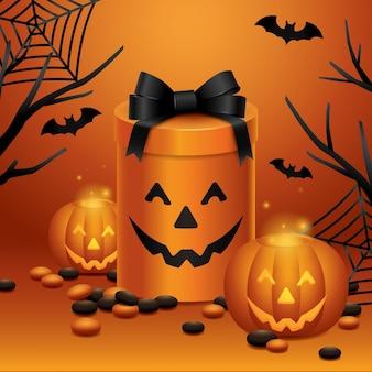 Carte d'halloween cadeau citrouille