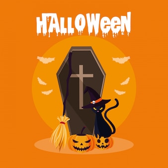 Carte d'halloween avec le cercueil de la mort