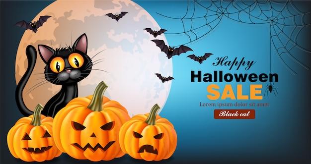 Carte d'halloween chat noir et citrouilles