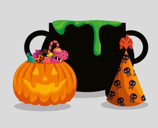 Carte d'halloween avec chaudron et potiron