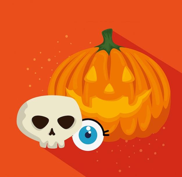 Carte d'halloween à la citrouille et au crâne